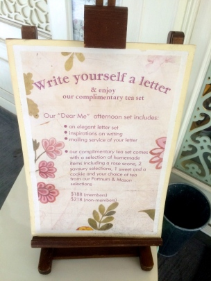 Go with their tea set, you could write a letter to someone and send it one year later. (@Fashionmimo)