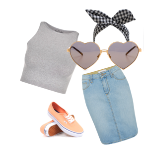 Crop top with denim pencil skirt, sweet look for a laid-back summer. (@Fahionmimo)